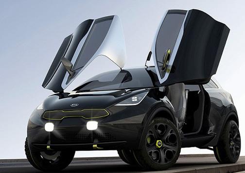 El concept car Kia Niro, con su parrilla morro de tigre. Foto: Kia.