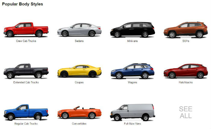 Amazon Vehicles - Popular Body Styles