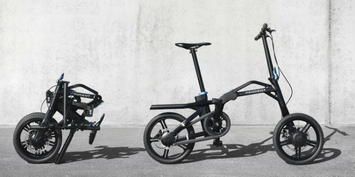 Peugeot eF01 - bicicleta eléctrica plegada y sin plegar